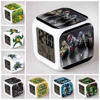 Digital alarms modeling - Teenage Mutant Ninja Turtles modeling LCD Alarm Clock Calendar Thermometer Backlight colorful digital alarm clock