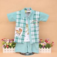 Wholesale 0 Y boys baby sets summer clothes baby kids sets plaid shirts vest shorts pants color green blue