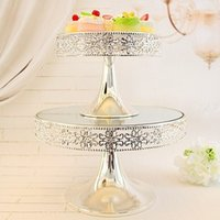 silver tray - European silver plated tray cake dessert stand tall decorative props wedding dessert tea sets