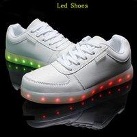 Wholesale 8 Colors High Quality New Fashion Led Shoes Casual Women Men Shoes Led Luminous USB Charging Lights shoes Size Free DHL