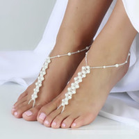 Wholesale 3 Design Barefoot Sandals Beach Wedding Yoga Shoes Foot Jewelry White Beads