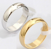 Wholesale 1PC New Fashion K Gold Silver Plated L Stainless Steel Rings Engagement Wedding Bands For Men Women Jewelry