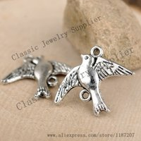 Wholesale DIY Bracelet Antiqued Silver Vintage Alloy Beautiful Flying Bird Necklace Pendant Connector mm