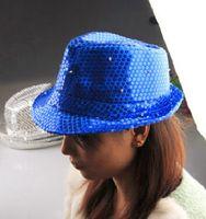 Wholesale European and American Dance DJ night the bar men and women jazz singers LED cap light jazz dance Hat sequin Hat
