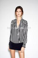Cheap New 2014Chiffo stripes fashion n Blouse Women Long Sleeve F Print Shirt Women Clothing Femininas Dudalina Free Shipping060104