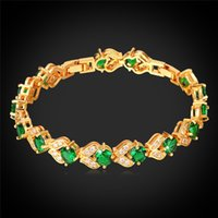 Wholesale Platinum K Real Gold Plated Bracelets For Women AAA Cubic Zirconia Jewelry Gift Fashion Jewelry Green Crystal Bracelet H986