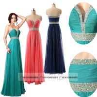 peacock dress - Real Photo In Stock Chiffon Formal Evening Gowns Coral Navy Blue Peacock Sweetheart Floor length Prom Dresses with Beaded TZ002