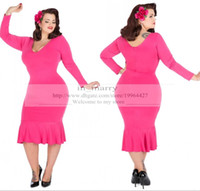 audrey hepburn prom dress - Fushia Bellatrix Plus Size Dress s Tea Length Short Party Dresses Long Sleeve Audrey Hepburn Swing Dress Mermaid Prom Evening Gowns