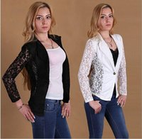 Cheap Tide ladies buttons blazer women Slim Fit lace Splicing suits women business fitted jackets Black White M-XXL free shipping