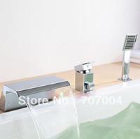 bath tub units - Modern Chrome Polished Square Bath Tub Waterfall Faucet Set Units W Spray Hand Shower Diverter Handheld