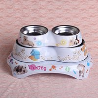 Wholesale melamine stainless steel Feeding and drinking dual purpose cat and dog bowl