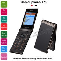 big screen cell phone - 2015 Unlocked Touch Screen flip Big Button Dual sim card LED screen senior elderly mobile cell phone for old people person T12 P16