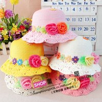 Cheap New Arrival Girls princess hats korean sweet style applique kids Straw hat with flowers children bucket hat 10pcs lot 2-7age ab1266