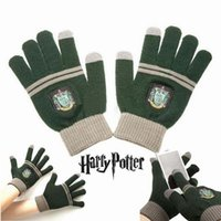 Wholesale DHL Free Unisex Touch Screen gloves Harry Potter gloves School Badge gloves Winter Knitted mittens Christmas Gifts Warm finger Gloves