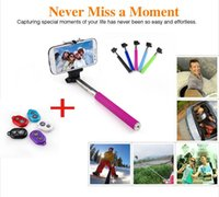 Wholesale Extendable Self Selfie Stick Handheld Monopod Clip Holder Bluetooth Camera Shutter Remote Controller for iPhone Samsung gopro