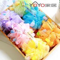 ball bath gel - Hot sale toiletries colorful fine mesh sponge bath ball sponge bath flower milk shower gel special