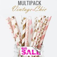 baby shower drinks - 150pcs Mixed Colors VINTAGE CHIC Paper Straws Gold and Pink Damask Stripe Polka Dot Party Drinking Straws Wedding Baby Shower