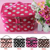 Wholesale Women Retro Dot Beauty Case Makeup Large Cosmetic Set Toiletry Bag