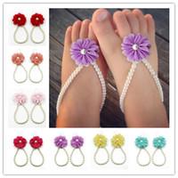 Wholesale Baby Princess Flower Prewalker Shoes Summer New DIY Pearls Chiffon Flower Girls Sandals Kids Barefoot Foot Flower color to Choose n425