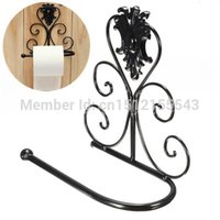 Wholesale Black Classical Iron Toilet Paper Roll Holder Bathroom Wall Mount Rack order lt no track