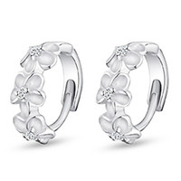 asian blossoms - Sterling Silver Hoop Earrings Plum Blossom Flower High Quality Crystal Woman Jewelry EH137
