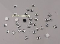 Wholesale 1000PCS mm square imitation white clear acrylic rhinestone with silver flatback without hole Bargain for Bulk
