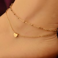 Wholesale New Fashion jewelry Chain Sexy Gold Tone Love Heart Foot jewelry heart anklets for women girl