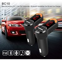 Wholesale new High Quality BC10B Mini Stereo Bluetooth Hands free Car Dual USB Max A Car Charger FM transmitter Two Way Audio