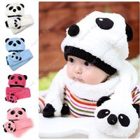 Wholesale Hot Toddler Infant Unisex Girl Boy Baby winter warm Hat Cap Beanie Scarf Panda Cartoon two piece set