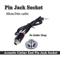 acoustic endpin jack - No Solder Strap Endpin Jack Socket with Cord for Acoustic Guitar Pickup Transducer Connection Chrome cm cable Silver Color