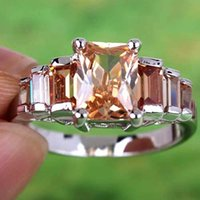 emeralds - Free Ship AR5 Hot Sales Emerald Cut Morganite Gemstones Silver Ring Size A0055 BLACK FRIDAY