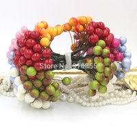 pomegranate - New heads mm High simulation pearl pomegranate Multicolor double heads strong stem pearl fruit stamen
