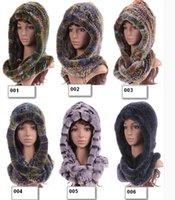Wholesale The new Rex Rabbit Fur Hat Scarf dual purpose thick warm winter female fur scarf hat