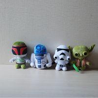 Revisiones Juguetes robot-EMS 5 estilos Star Wars peluche juguete de dibujos animados lindo para niños Super Deformado Boba robot Stormtrooper Darth peluche animales muñeca suave 18 cm E135