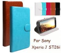 al por mayor j cuero del xperia-Funda de cuero de tirón de la carpeta de la PU de la alta calidad para el caso de Sony Xperia J ST26i ST26 (pluma del tacto del regalo)