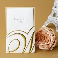 invitation letter - 2016 Glod Sweet Sequins Exquisite Personalized Printable Wedding Invitation Cards White Gold Laser Cut Flora Hollow In Stock Z
