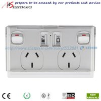 australian electrical socket - 2015 Newest Design SAA Australian Standard Double Switched Electrical Socket with V A USB Charger and Mobile Phone Holder