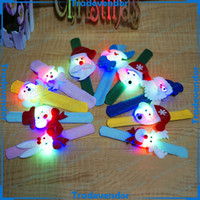 Wholesale Christmas Gift Xmas Santa Claus Snowman Toy Slap Pat With LED Light Circle Bracelet Wristband Decoration Ornament LED Children Kids Gift