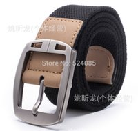 Wholesale Brand New free man s fashion metal pin buckle thick quality casual striped needle knit canvas strap army belts waist cintos military for man