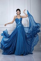 bead trend - Trends Collection Royal Blue Evening Dress Halter Neck Crystal Beads Pleats Long Chiffon Women Formal Night Party Prom Dresses Plus Size