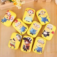 Wholesale Eyewear Cases Cute Despicable Me Minions Contact Lens Case Eyes Eyewear Accessories Mirrors Bottles Double Box rs Stick Set