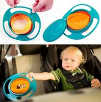 Wholesale 3 Color Baby Arrival High Quality Children Kid Baby Toy Universal Rotate Spill Proof Bowl Dishes NEW UFO Top bowl B001