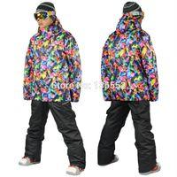 Wholesale 2015 mens geometric ski suit male snowboarding suit snow suit colorful ski jacket and black ski pants skiwear waterproof K free ship EMS
