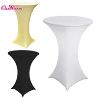 bar tables black - White Black Ivory Cocktail Table Cover Lycra Spandex Stretch Tablecloth for Bar Bistro Wedding Decoration Solid