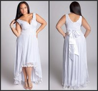 Cheap A-Line Wedding Dress beach Best Reference Images V-Neck Wedding dress plus size
