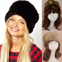 achat en gros de chapeaux beanie jaunes à vendre-Hot Sale Femmes Faux Fur Beanie Chapeau Animal Leopard Print Hiver Cap Noir Jaune Flat Caps CJD1015