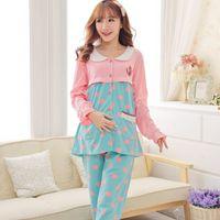 Wholesale 2015 Regnant Women Home Furnishing Maternal Confinement Feeding Large Yards Long Sleeved Pajamas Postpartum Lactation Clothes