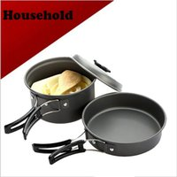 Cheap Wholesale-camping equipment Portable Outdoor Cooking Set Anodised Aluminum Non-stick Cookware Camping Picnic Hiking Utensils Pot Pan Bowl