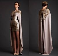 Wholesale 2016 Elegant Two Pieces Evening Dresses with Appliques Mini Short Party Dresses with Cape Cloak Prom Dresses DG