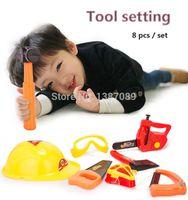 plastic kids garden tool set - A set of gardening tool plastic toys modeling Tools set electric saw kids hammer helmet axe mask glasses